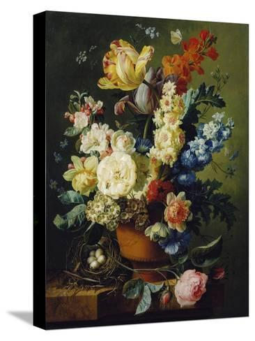 Flower Still Life with Bird's Nest, 1785-Paul Theodor van Brussel-Stretched Canvas Print