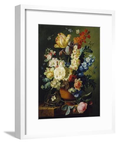 Flower Still Life with Bird's Nest, 1785-Paul Theodor van Brussel-Framed Art Print