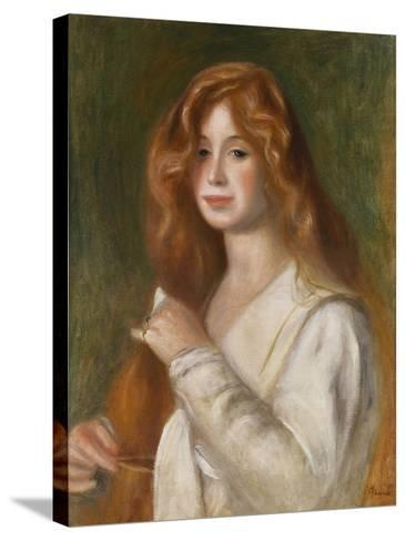 Girl Combing Her Hair-Pierre-Auguste Renoir-Stretched Canvas Print