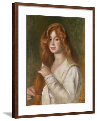 Girl Combing Her Hair-Pierre-Auguste Renoir-Framed Art Print