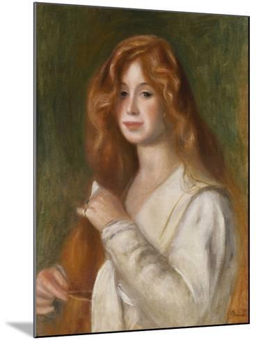 Girl Combing Her Hair-Pierre-Auguste Renoir-Mounted Giclee Print