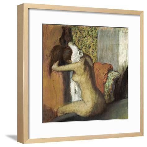 After the Bath, Woman Drying Her Neck, 1898-Edgar Degas-Framed Art Print