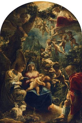 The Holy Family with Angels and John the Baptist, about 1599-Adam Elsheimer-Stretched Canvas Print