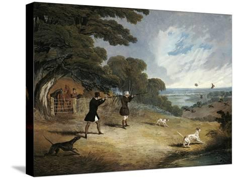 Partridge Shooting at Six Mile Bottom, 1833-John Frederick Herring I-Stretched Canvas Print