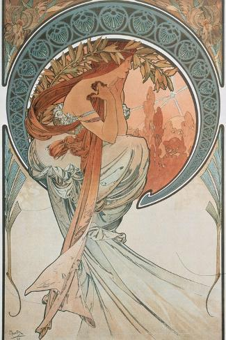The Arts: Poetry, 1898-Alphonse Mucha-Stretched Canvas Print