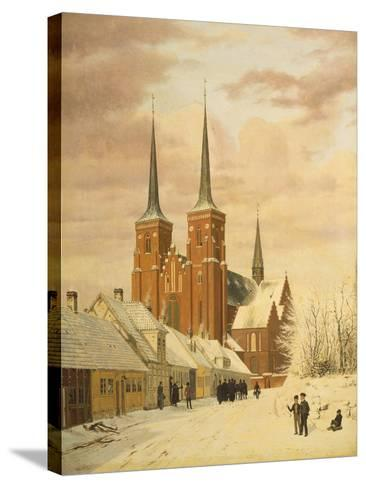 Winterszene in Roskilde Mit Dem Dom-Jorgan Roed-Stretched Canvas Print