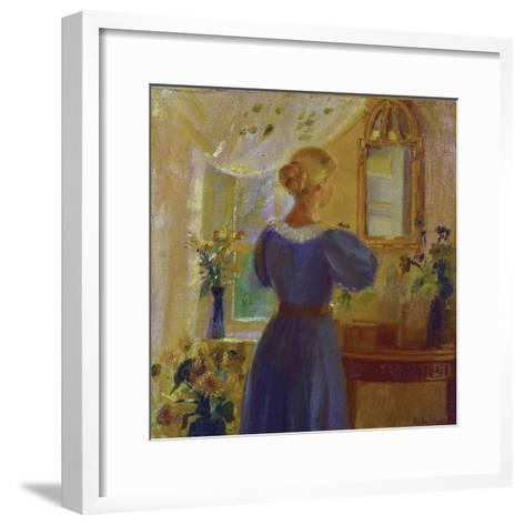 An Interior with a Woman Looking in a Mirror, 1900-Michael Peter Ancher-Framed Art Print