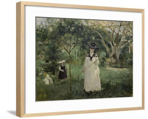 The Butterfly Hunt (The Artist's Sister with Her Children), 1874-Berthe Morisot-Framed Art Print