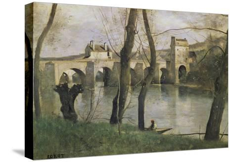 The Bridge at Mantes-Jean-Baptiste-Camille Corot-Stretched Canvas Print