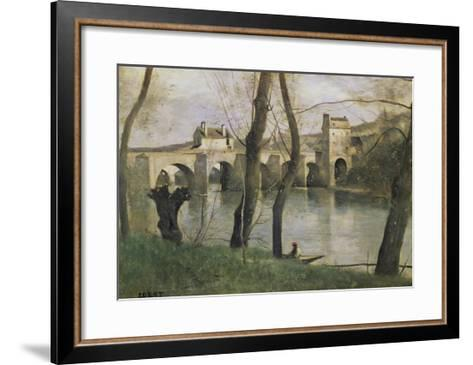 The Bridge at Mantes-Jean-Baptiste-Camille Corot-Framed Art Print