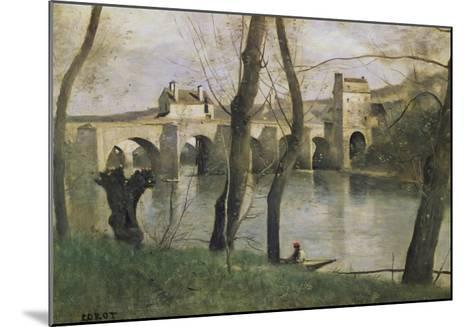 The Bridge at Mantes-Jean-Baptiste-Camille Corot-Mounted Giclee Print