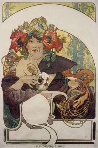 Poster Advertising 'Bieres De La Meuse', about 1897-Alphonse Mucha-Stretched Canvas Print
