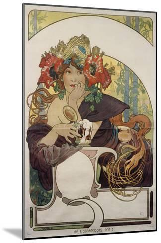 Poster Advertising 'Bieres De La Meuse', about 1897-Alphonse Mucha-Mounted Giclee Print