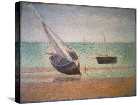 Boote Bei Ebbe Am Strand Von Grandcamp, 1885-Georges Seurat-Stretched Canvas Print
