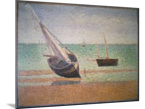 Boote Bei Ebbe Am Strand Von Grandcamp, 1885-Georges Seurat-Mounted Giclee Print