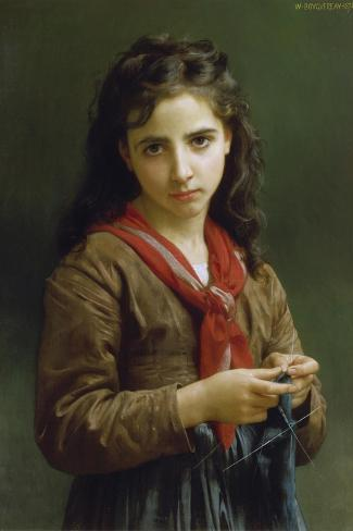 Young Girl Knitting, 1874-William Adolphe Bouguereau-Stretched Canvas Print