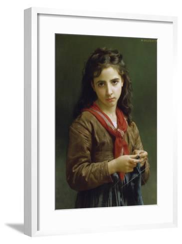 Young Girl Knitting, 1874-William Adolphe Bouguereau-Framed Art Print
