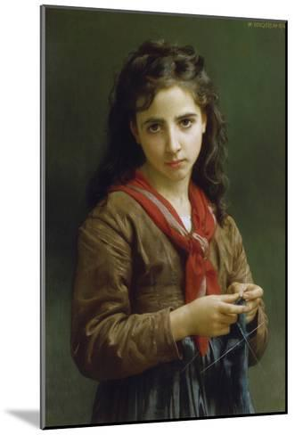Young Girl Knitting, 1874-William Adolphe Bouguereau-Mounted Giclee Print