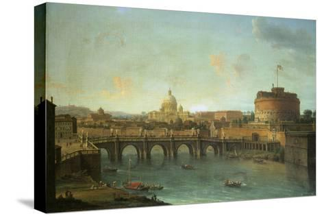 Castel Santangelo and Ponte Santangelo, Rome, with St. Peters and Vatican-Antonio Joli-Stretched Canvas Print