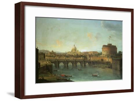 Castel Santangelo and Ponte Santangelo, Rome, with St. Peters and Vatican-Antonio Joli-Framed Art Print
