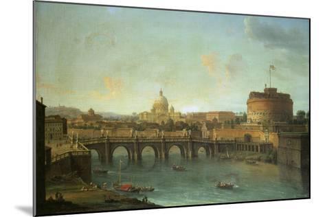 Castel Santangelo and Ponte Santangelo, Rome, with St. Peters and Vatican-Antonio Joli-Mounted Giclee Print