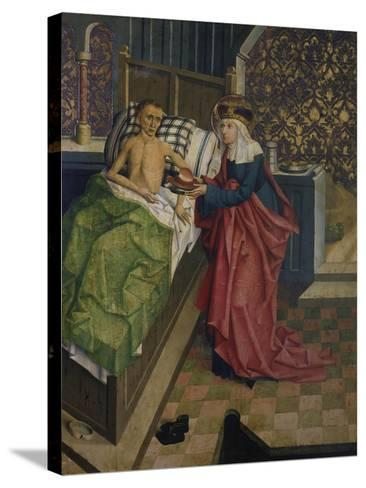 Altar des Nikolaus Puchner. die Selige Agnes Pflegt Einen Kranken- Master of Kreuzberg-Stretched Canvas Print