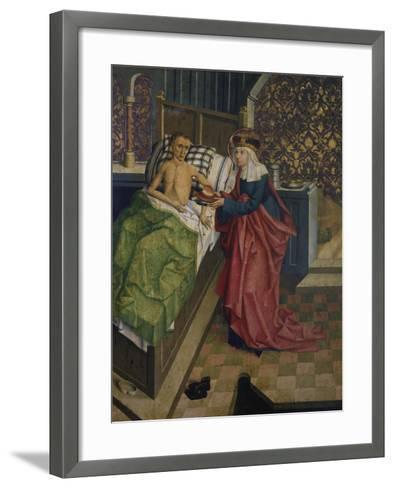 Altar des Nikolaus Puchner. die Selige Agnes Pflegt Einen Kranken- Master of Kreuzberg-Framed Art Print