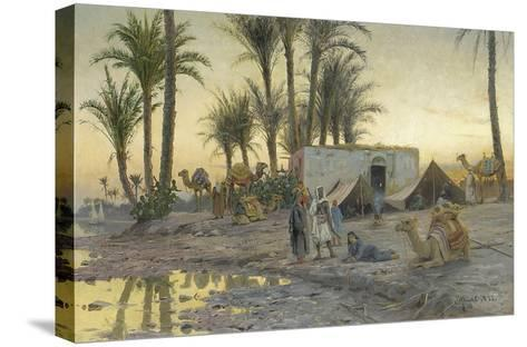 A Bedouin Camp at Gerzereh after Sunset, 1893-Peder Moensted-Stretched Canvas Print