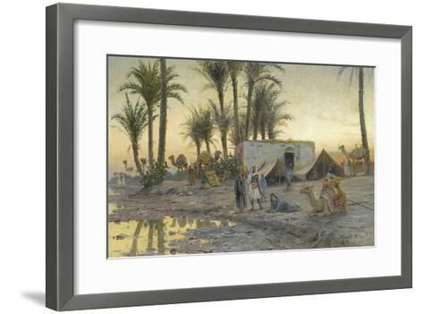 A Bedouin Camp at Gerzereh after Sunset, 1893-Peder Moensted-Framed Art Print