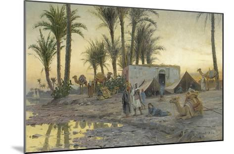 A Bedouin Camp at Gerzereh after Sunset, 1893-Peder Moensted-Mounted Giclee Print