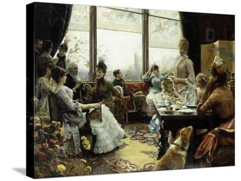 Five O'Clock Tea-Julius Leblanc Stewart-Stretched Canvas Print