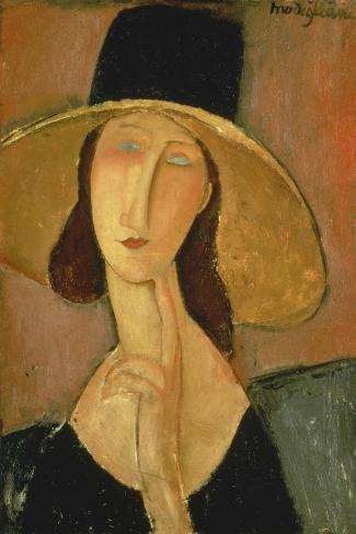 Portrait of Jeanne Hebuterne in a Large Hat-Amedeo Modigliani-Stretched Canvas Print