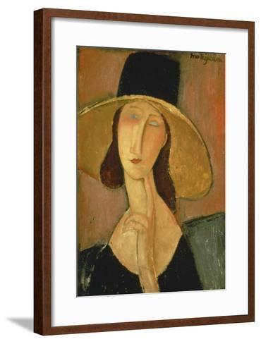 Portrait of Jeanne Hebuterne in a Large Hat-Amedeo Modigliani-Framed Art Print