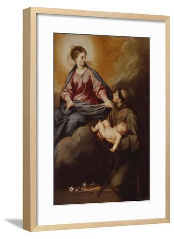 The Mother of God Appearing to St. Anthony. Between 1645 and 1652-Alonso Cano-Framed Art Print
