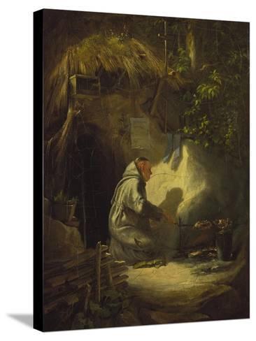 Hermit, Roasting a Chicken, 1841-Carl Spitzweg-Stretched Canvas Print