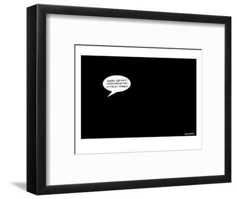 In a pitch black room a speech bubble appears, suggesting that General Pet? - New Yorker Cartoon-Alex Gregory-Framed Art Print