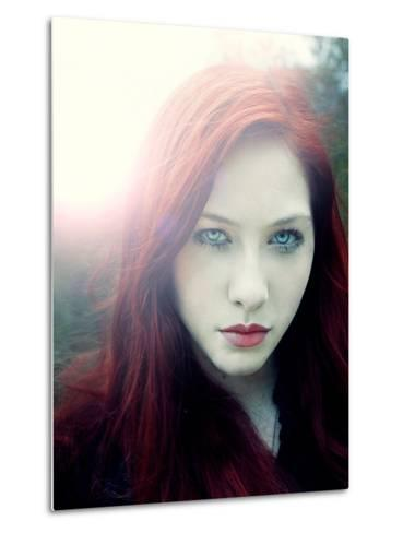 Girl with Red Hair and Light Behind Her-Elizabeth May-Metal Print