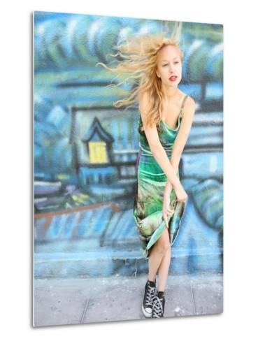 Young Alternative Woman with Blonde Hair Wearing Playful 90s Grunge Fashion Clothing-Jena Ardell-Metal Print