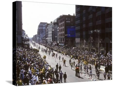 Finishers on Boyleston Street at the 1990 Boston Marathon--Stretched Canvas Print