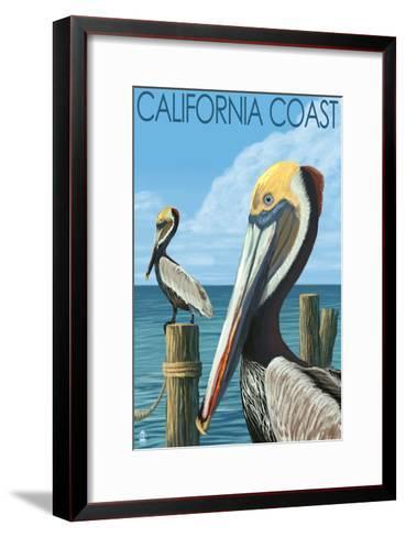 California Coast - Pelicans-Lantern Press-Framed Art Print
