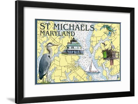 St. Michaels, Maryland - Nautical Chart-Lantern Press-Framed Art Print