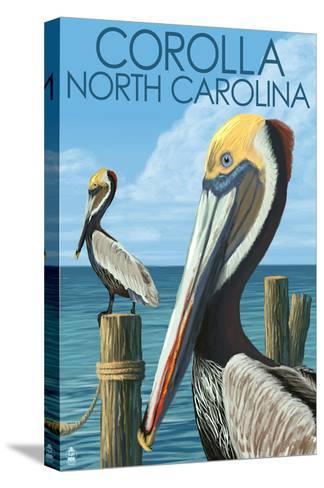 Corolla, North Carolina - Pelicans-Lantern Press-Stretched Canvas Print