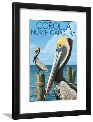 Corolla, North Carolina - Pelicans-Lantern Press-Framed Art Print