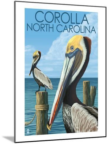 Corolla, North Carolina - Pelicans-Lantern Press-Mounted Art Print