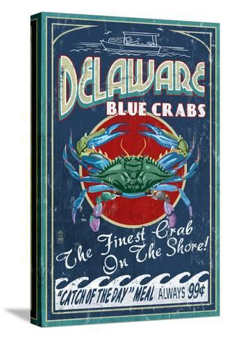 Delaware Blue Crabs-Lantern Press-Stretched Canvas Print