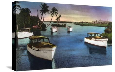 Boca Raton, Florida - Deep Sea Fishing Fleet Scene-Lantern Press-Stretched Canvas Print
