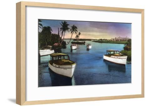 Boca Raton, Florida - Deep Sea Fishing Fleet Scene-Lantern Press-Framed Art Print