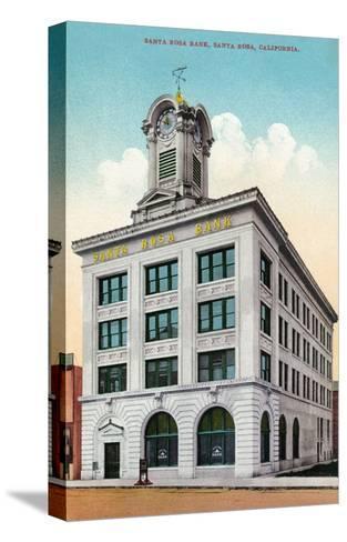 Santa Rosa, California - Exterior View of the Santa Rosa Bank-Lantern Press-Stretched Canvas Print