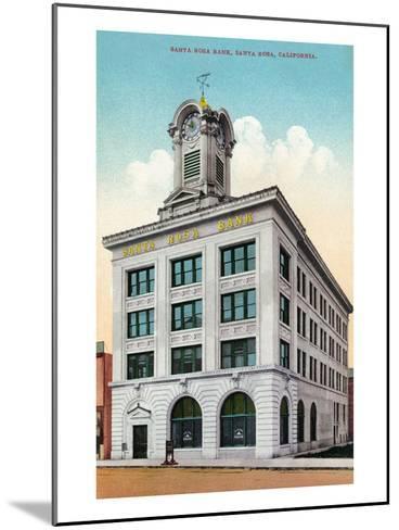 Santa Rosa, California - Exterior View of the Santa Rosa Bank-Lantern Press-Mounted Art Print