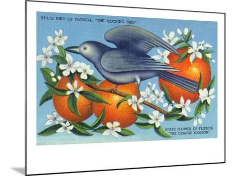 Florida - Mockingbird and Orange Blossoms, State Bird and Flower-Lantern Press-Mounted Art Print